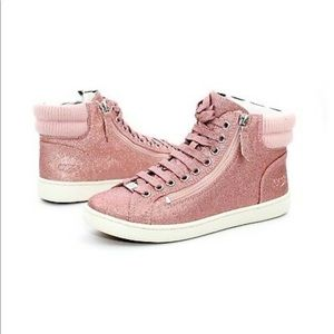 Ugg Olive Pink Glitter High Top Sneakers